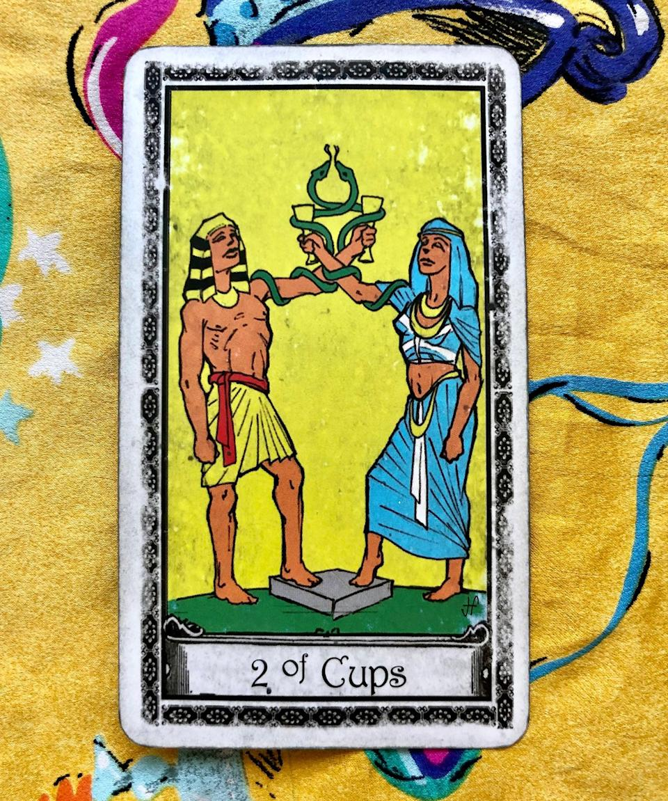 """<strong>Two of Cups</strong><br><br>Next up, Potter pulled the Two of Cups, a card that signifies couples and partnership. """"What it's telling me is if you don't take a chance, you might not get what you want,"""" she said, adding that if you <em>do</em> take a chance, you're in a pretty lucky spot. The fates are indicating that you'll receive the response you want this Valentine's Day.<br><br>Her advice? Write your crush or your partner a love letter describing your feelings for them. Or send your friend a gushy note of appreciation. A small but loving gesture like this can go a long way on February 14.<span class=""""copyright"""">Photo: courtesy of Sarah Potter.</span>"""