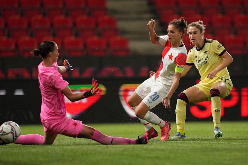 Crucial strike: Arsenal forward Viv Miedema scores against Slavia Prague as the Gunners qualify for the first Women's Champions League group stage (Getty Images)