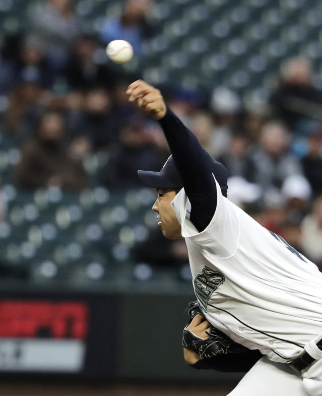 Seattle Mariners starting pitcher Yusei Kikuchi throws against the Cleveland Indians during the first inning of a baseball game, Monday, April 15, 2019, in Seattle. (AP Photo/Ted S. Warren)