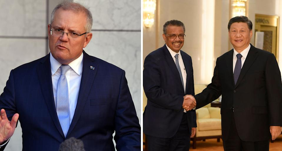 """Scott Morrison, pictured left, has called the inquiry push """"unremarkable"""". WHO director-general Tedros Adhanom Ghebreyesus and Chinese president Xi Jinping are pictured shaking hands on the right."""