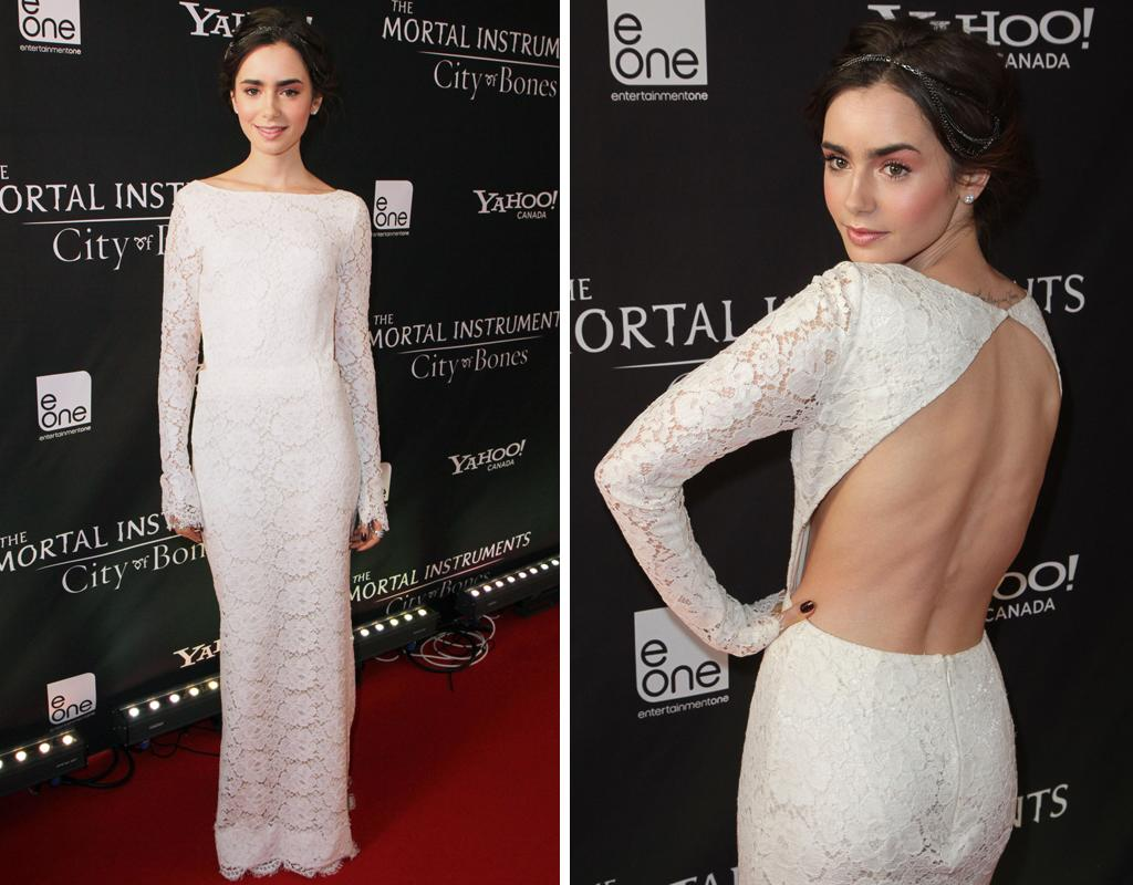 "Who: Lily Collins Wearing: Backless Houghton lace gown, silver headband Where: ""The Mortal Instruments: City of Bones"" premiere in Toronto"