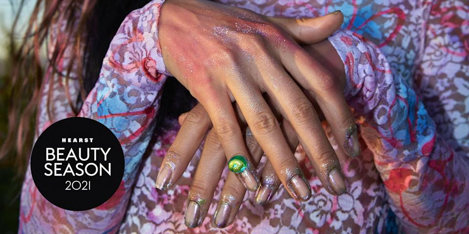"""<p>From the modern <a href=""""https://www.elle.com/uk/beauty/nails/g28697104/french-manicure-trend/"""" rel=""""nofollow noopener"""" target=""""_blank"""" data-ylk=""""slk:French mani"""" class=""""link rapid-noclick-resp"""">French mani</a> and mirrored chrome finishes, to negative space nails and completely OTT embellished talons, this is the ELLE edit of the most inspiring <a href=""""https://www.elle.com/uk/beauty/nails/g30640657/nail-trends/"""" rel=""""nofollow noopener"""" target=""""_blank"""" data-ylk=""""slk:nail art"""" class=""""link rapid-noclick-resp"""">nail art</a> looks and trends direct from backstage at fashion week SS22.</p><p>Get your Spring 2022 nail art inspiration here...</p>"""