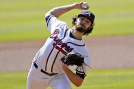 Atlanta Braves starting pitcher Ian Anderson throws during the first inning in Game 2 of a National League wild-card baseball series, Thursday, Oct. 1, 2020, in Atlanta. (AP Photo/John Bazemore)