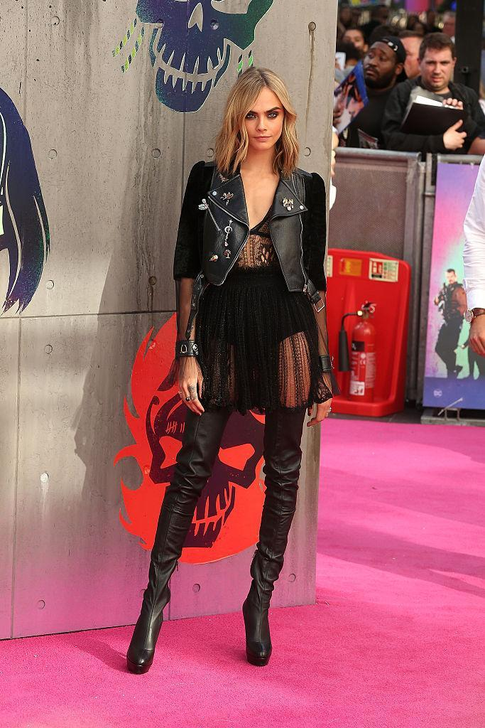 <p>If anyone can pull off this barely there Alexander McQueen look, it's leggy actress/model Cara Delevingne.<i> (Photo by Fred Duval/FilmMagic)</i></p>