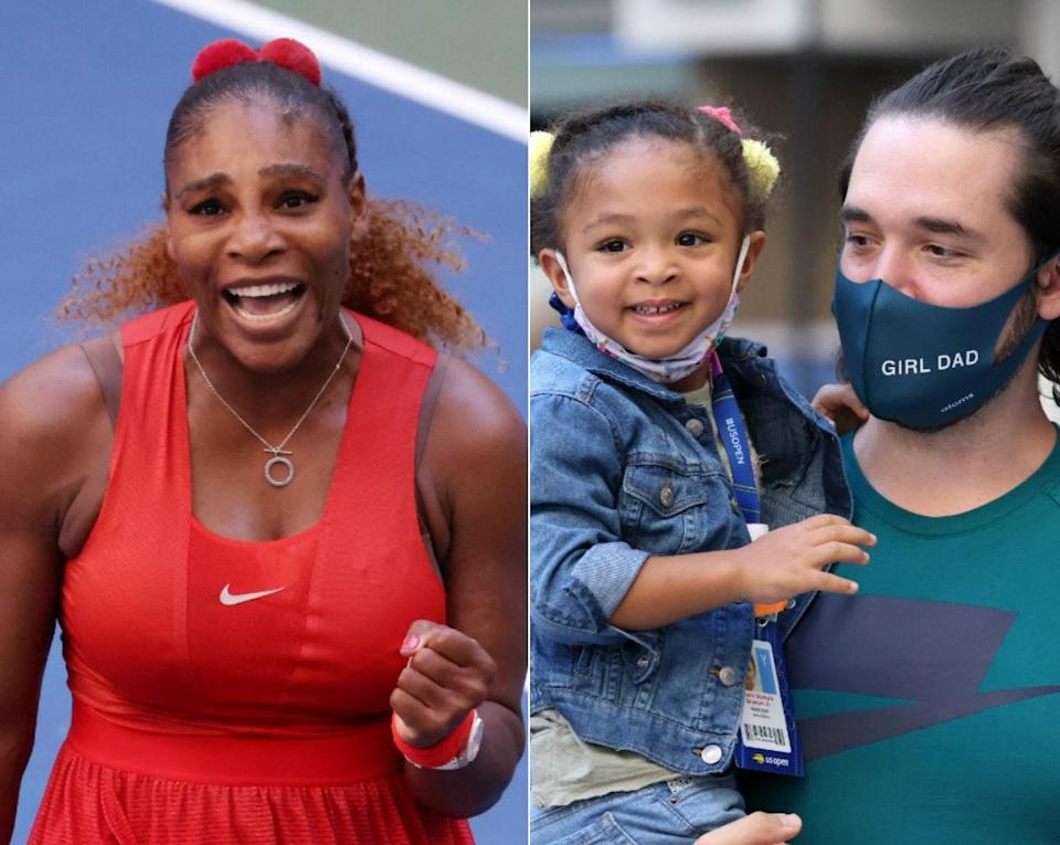 Ohanian and three-year-old Olympia supporting Serena at the 2020 U.S. Open