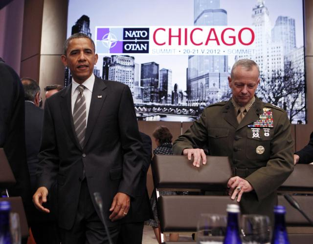 President Barack Obama and Marine Gen. John Allen arrive at the NATO meeting on Afghanistan in Chicago. (Reuters)