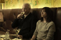 """This image released by Apple shows Bill Murray, left, and Rashida Jones in a scene from """"On the Rocks."""" (JoJo Whilden/Apple via AP)"""