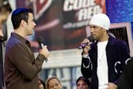 <p>Carson Daly interviewed Craig David in the <b>TRL</b> studios in 2001.</p>