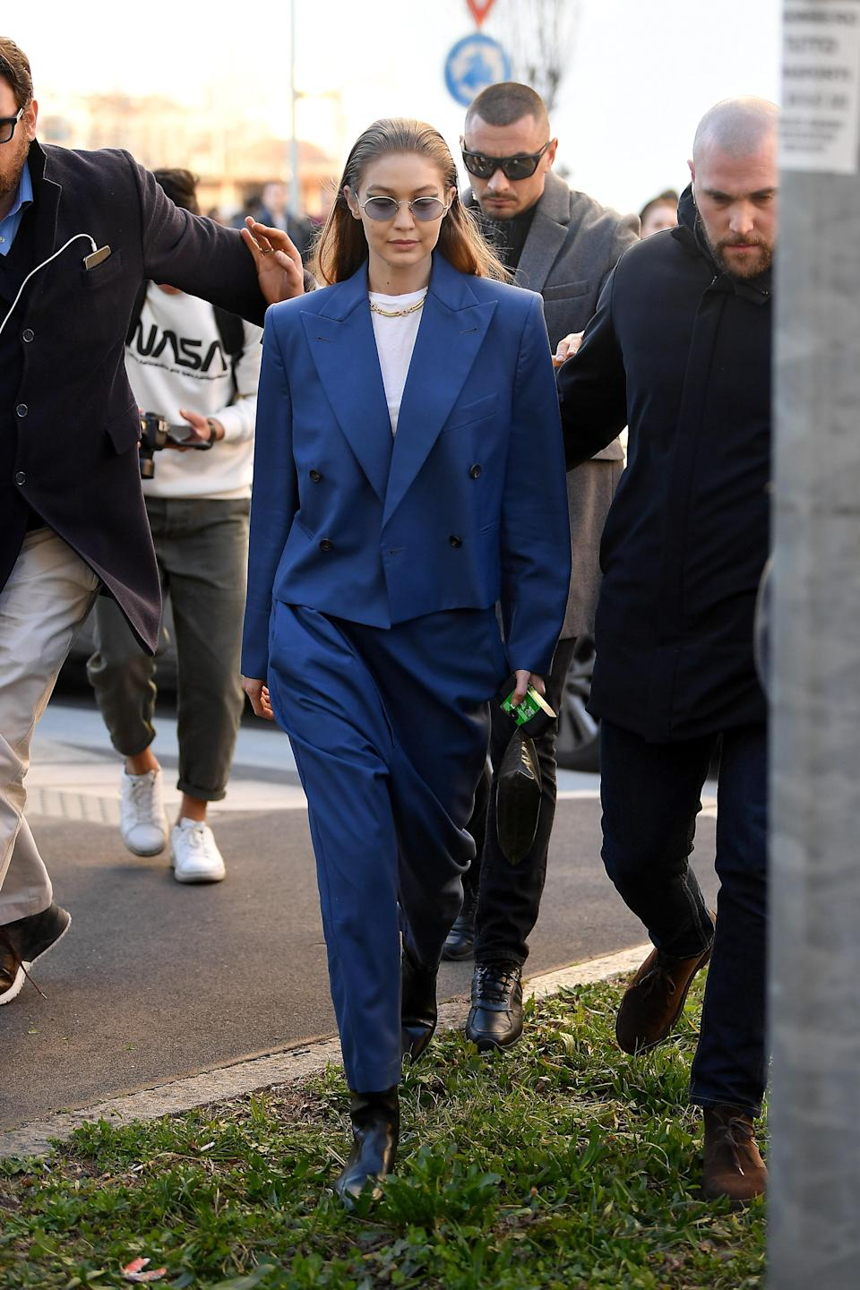 What can we say? Gigi loves her oversized suits.