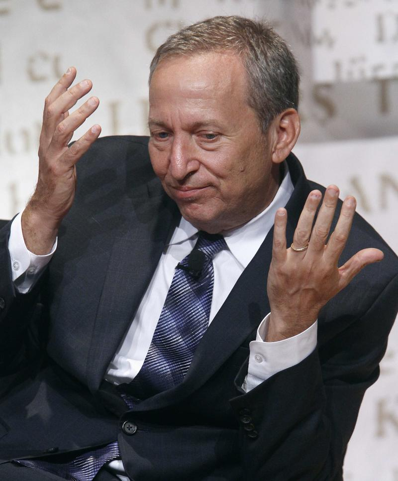 Harvard University's President Emeritus and Charles W. Eliot Professor Lawrence Summers gestures while he speaks during The Economist's Buttonwood Gathering in New York in this file photo