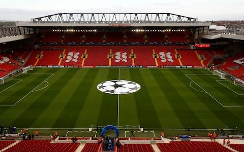 General view inside the stadium prior to the Group C match of the UEFA Champions League between Liverpool and Paris Saint-Germain at Anfield on September 18, 2018  - Credit: GETTY IMAGES