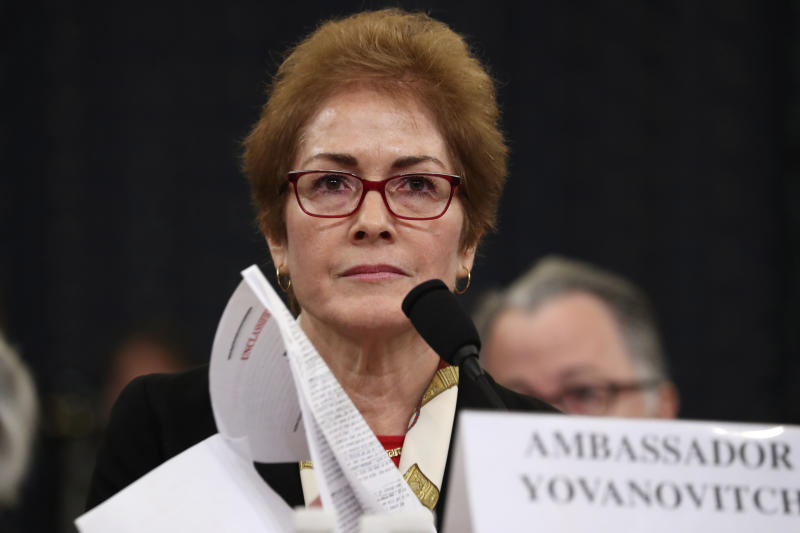 Former U.S. Ambassador to Ukraine Marie Yovanovitch testifies on Capitol Hill in Washington on Nov. 15. (Photo: Andrew Harnik/AP)