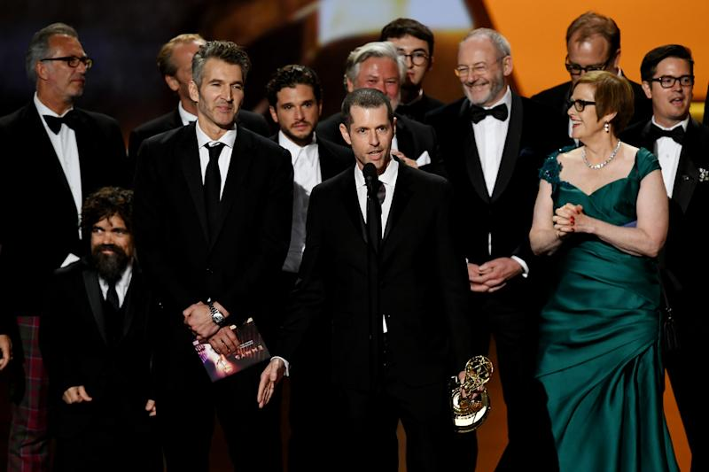 LOS ANGELES, CALIFORNIA - SEPTEMBER 22: D. B. Weiss (C, speaking), David Benioff (3rd L) and cast and crew of 'Game of Thrones' accept the Outstanding Drama Series award onstage during the 71st Emmy Awards at Microsoft Theater on September 22, 2019 in Los Angeles, California. (Photo by Kevin Winter/Getty Images)