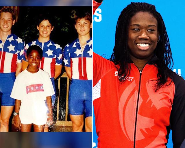 <p><strong>THEN:</strong> Erin Jackson in 2002. She switched from figure skating to speed skating a year later.<br><strong>NOW:</strong> She's the first African-American woman to compete in Olympic long-track skating.<br> (Photo via Instagram/speedyj, AP Photo/John Locher) </p>