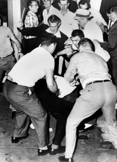 James Peck was on one of the two Freedom Rider buses is attacked at the bus station, Birmingham, Ala., May 14, 1961.