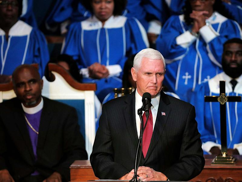 Mike Pence speaks to the congregation of the Holy City Church of God In Christ: AP