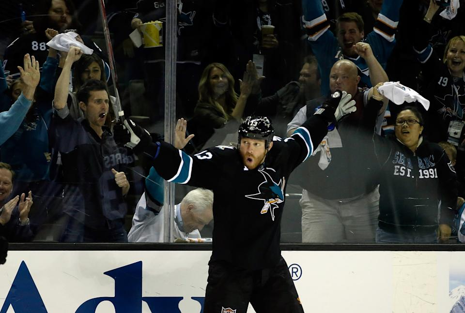 SAN JOSE, CA - APRIL 20: Raffi Torres #13 of the San Jose Sharks celebrates after he scored a goal in the second period of their game against the Los Angeles Kings in Game Two of the First Round of the 2014 NHL Stanley Cup Playoffs at SAP Center on April 20, 2014 in San Jose, California. (Photo by Ezra Shaw/Getty Images)