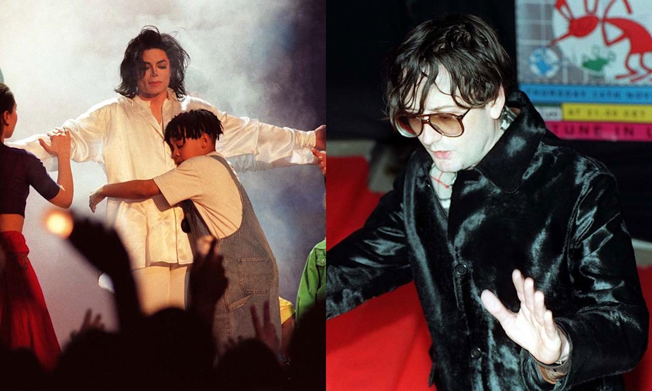 "The King of Pop was challenged by big Brit Pop star in 1996 when Jarvis Cocker took exception to Michael Jackson's performance of Earth Song and invaded the stage to shake his behind to viewers. He later described his actions a ""form of protest"" against Jackson portraying himself as ""some kind of Christ-like figure"". (PA)"