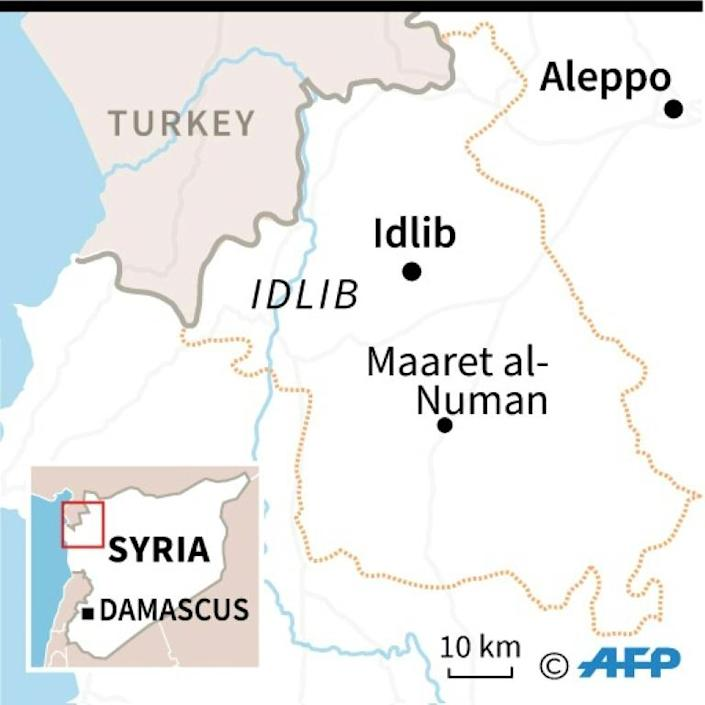 Map of Idlib province in Syria, where intense fighting between pro-government forces and jihadist-led fighters killed dozens. (AFP Photo/AFP)