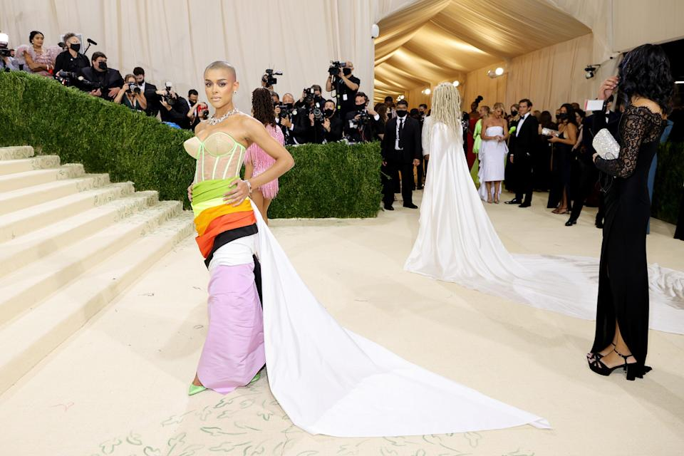 """<h2>Jordan Alexander wearing Christopher John Rogers</h2><br>Jordan Alexander is right where she belongs: On the steps of the Met (wearing Christopher John Rogers). <span class=""""copyright"""">Photo by Mike Coppola/Getty Images.</span>"""