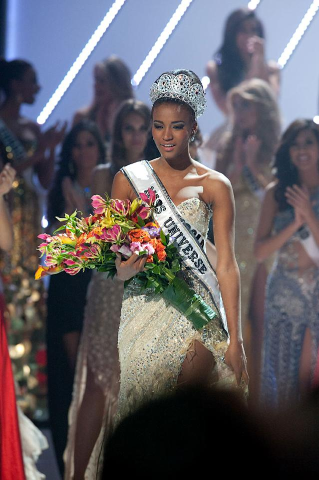 """Miss Angola 2011, Leila Lopes is crowned the winner of the 2011 Miss Universe® Competition during the """"60th Annual Miss Universe"""" pageant from São Paulo, Brazil."""
