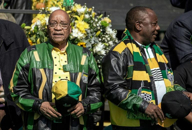 In friendlier times: Zuma, left, with Ramaphosa at an election rally in 2016