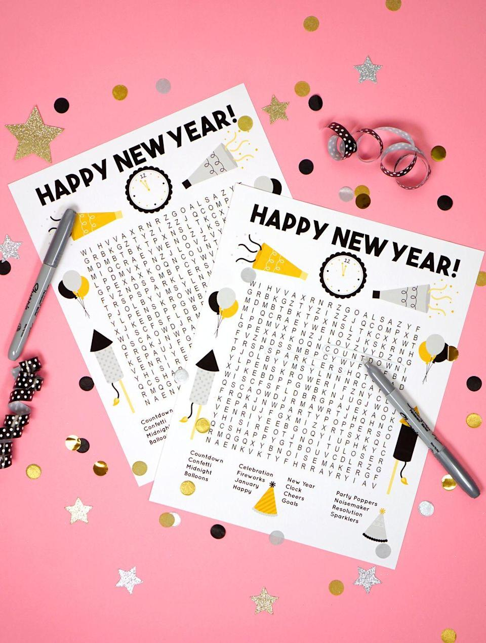 "<p>Get the kiddos in on the holiday fun with this New Year's printable word search. Just print as many as you need and let them seek and find 16 words and phrases related to the holiday.</p><p><em><a href=""https://www.happinessishomemade.net/new-years-word-search-printable/"" rel=""nofollow noopener"" target=""_blank"" data-ylk=""slk:Get the printable at Happiness Is Homemade»"" class=""link rapid-noclick-resp"">Get the printable at Happiness Is Homemade»</a></em><br></p>"