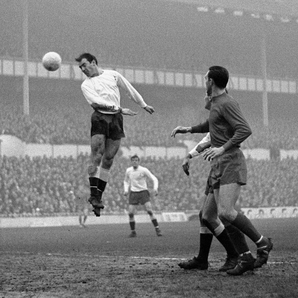 Greaves leaps to score against West Brom for Tottenham in December 1966 - PA