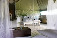 """<p><span>Meadow pitches. a pristine pool and a cluster of glamping options await at </span><a href=""""https://coolcamping.com/campsites/europe/france/west-france/aquitaine/365-la-parenthese-camping-les-ormes"""" rel=""""nofollow noopener"""" target=""""_blank"""" data-ylk=""""slk:this campsite just south of Bergerac"""" class=""""link rapid-noclick-resp""""><span>this campsite just south of Bergerac</span></a><span>. Safari tents are tastefully designed and furnished, while the boutique café in a converted barn is chic and modern. Want more? Play tennis on the onsite court or take a dip in the private lake. A tent and two people from €18 (£15). [Photo: Cool Camping]</span> </p>"""