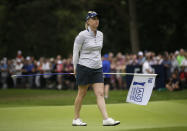 Morgan Pressel of the United States stands on the 18th green after finishing the final round of the Women's British Open golf championship at Woburn Gold Club near near Milton Keynes, England, Sunday, Aug. 4, 2019. (AP Photo/Tim Ireland)