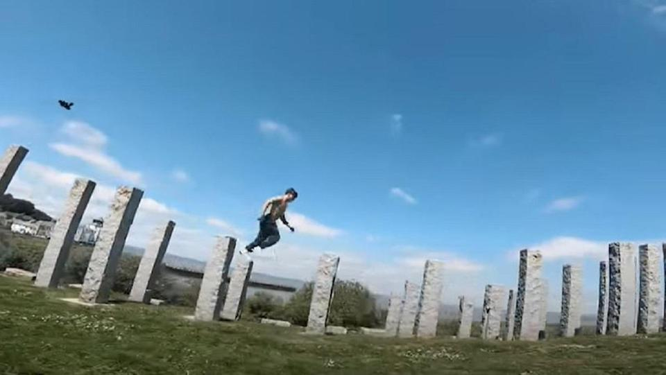 """A parkour expert navigates a high stakes version of """"the floor is lava."""""""