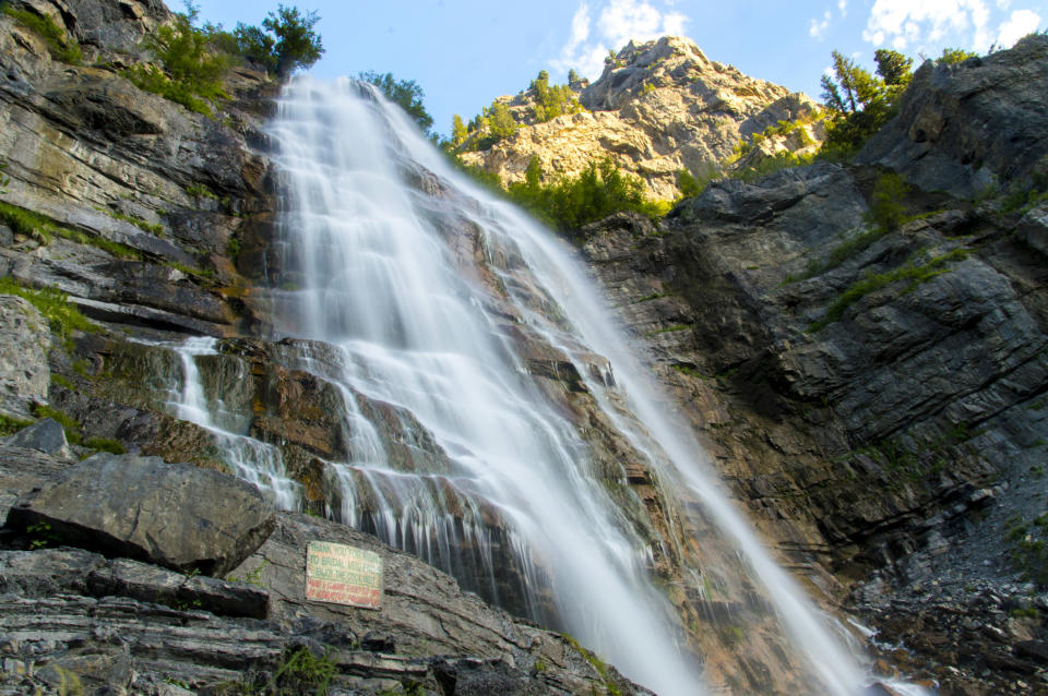 The Bridal Veil Falls waterfall, which is located in Provo Canyon, Utah, is pictured.