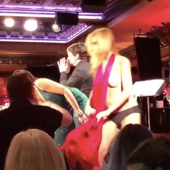 The 54-year-old was on stage with fellow RHNYC star Luann de Lesseps, when her red dress unravelled and revealed a lot she didn't want any of us to see. Source: Instagram/isaachurwitz