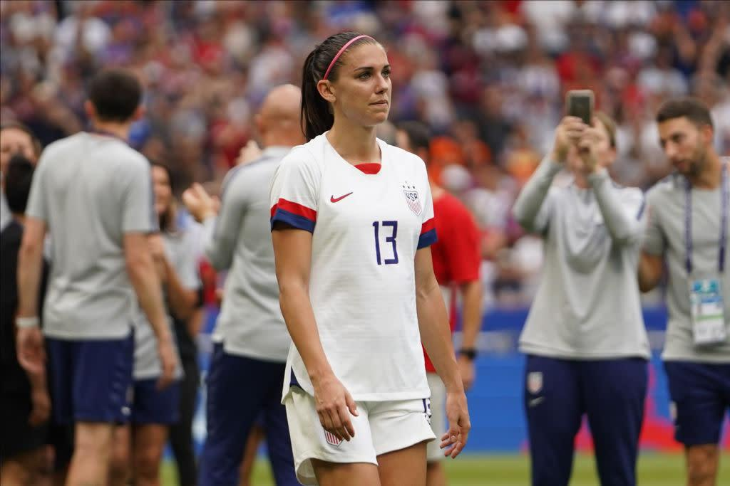 a7e33ac1b Alex Morgan of the U.S. team going up the ceremony platform during the 2019  FIFA Women's