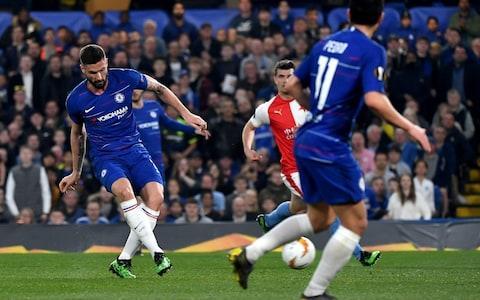 Chelsea's Olivier Giroud (L) scores the 3-0 goal during the UEFA Europa League quarterfinal, second leg soccer match between Chelsea FC and SK Slavia Prague at Stamford Bridge in London, Britain, 18 April 2019 - Credit: REX