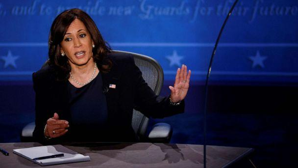 PHOTO: Democratic vice presidential nominee Senator Kamala Harris speaks during the vice presidential campaign debate with Vice President Mike Pence held on the campus of the University of Utah in Salt Lake City, Oct. 7, 2020. (Brian Snyder/Reuters)