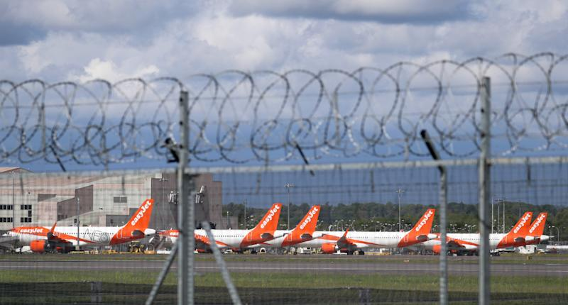 EasyJet planes parked at Gatwick Airport as the UK continues in lockdown to help curb the spread of the coronavirus.