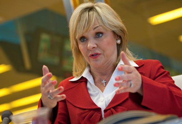 Oklahoma Gov. Mary Fallin(R), pictured here in 2011, speaks during an interview in New York.