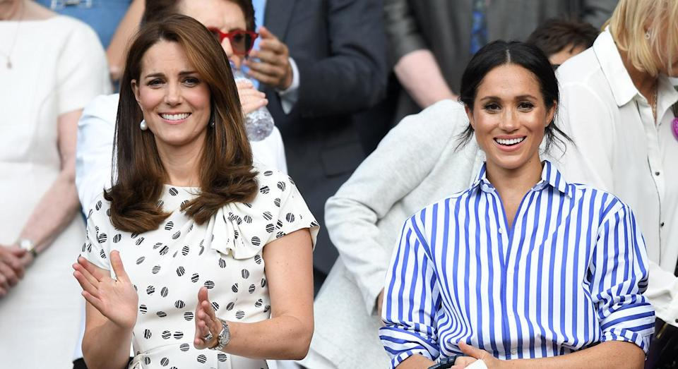 Meghan Markle and Kate Middleton together at Wimbledon in . [Photo: Getty]