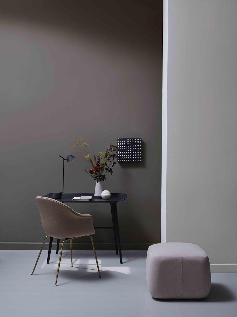 "<p>Choose greys with delicate undertones of mauve for a home office that you'll actually enjoy spending time in. Try two shades in the same colour family to create depth – '<a href=""https://www.crownpaints.co.uk/products/elle-decoration-by-crown/obsidian---flat-matt/sculpture-no.-147/18053"" rel=""nofollow noopener"" target=""_blank"" data-ylk=""slk:Sculpture"" class=""link rapid-noclick-resp"">Sculpture</a>' is shown here with the darker '<a href=""https://www.crownpaints.co.uk/products/elle-decoration-by-crown/obsidian---flat-matt/rock-solid-no.-173/18054"" rel=""nofollow noopener"" target=""_blank"" data-ylk=""slk:Rock Solid"" class=""link rapid-noclick-resp"">Rock Solid</a>'. Subtle colour blocking like this is an ideal way to section off areas within an open-plan home.</p>"