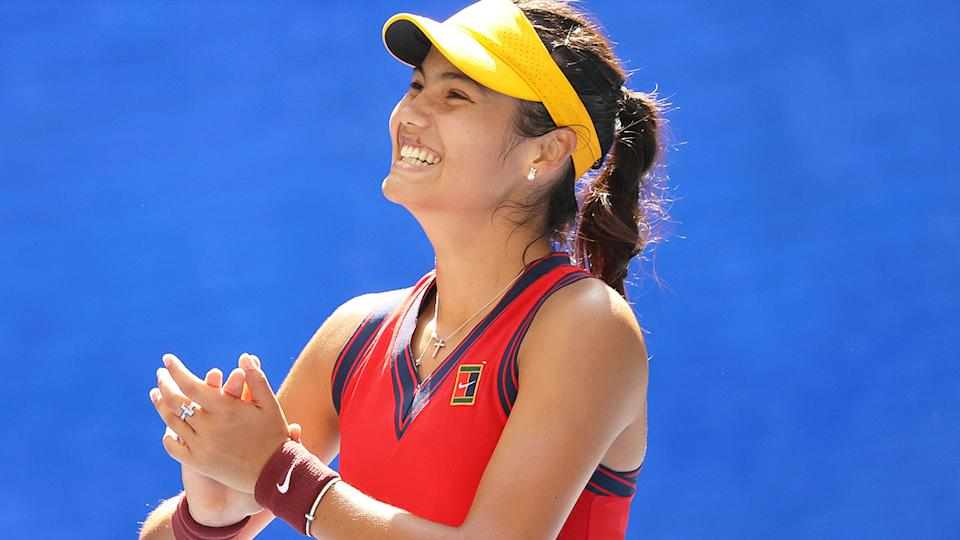 British teen Emma Raducanu says she had no idea about her record-breaking feat at the US Open. Pic: Getty