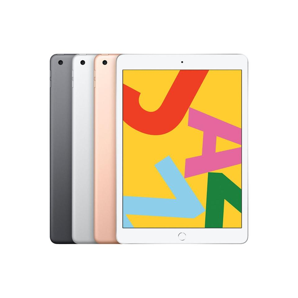 """<h3><a href=""""https://www.bestbuy.com/site/apple-ipad-latest-model-with-wi-fi-128gb-gold/5985616.p"""" rel=""""nofollow noopener"""" target=""""_blank"""" data-ylk=""""slk:Apple 10.2-Inch iPad"""" class=""""link rapid-noclick-resp"""">Apple 10.2-Inch iPad</a></h3><br>Black Friday through Cyber Monday is big for tech deals — and lucky for R29 readers, the top-carted new iPad is $100 off in a stylish rose-gold sheen. <br><br><strong>Apple</strong> iPad (Latest Model) With Wi-Fi - 128GB, $, available at <a href=""""https://www.bestbuy.com/site/apple-ipad-latest-model-with-wi-fi-128gb-gold/5985616.p"""" rel=""""nofollow noopener"""" target=""""_blank"""" data-ylk=""""slk:Best Buy"""" class=""""link rapid-noclick-resp"""">Best Buy</a>"""