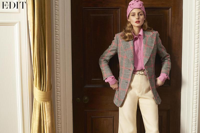 Blazer, shirt, pants and turban by Gucci, belt by Prada and ring by Piaget: Driu + Tiago, courtesy of The Edit, net-a-porter.com