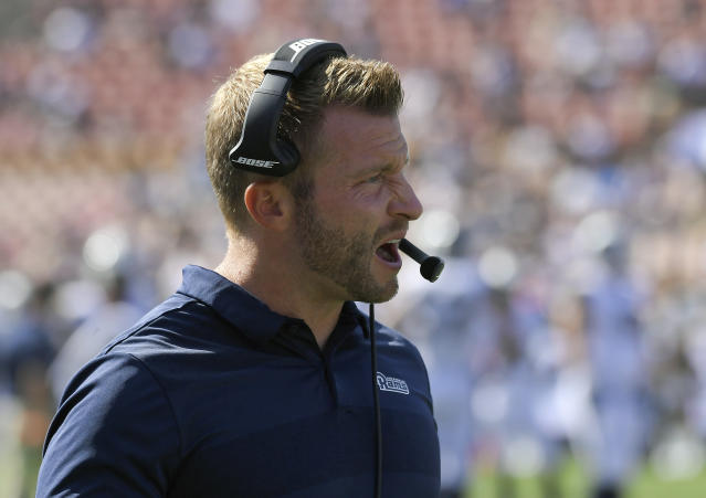 Los Angeles Rams head coach Sean McVay canceled Rams practice Friday amid fires in the area. (AP)