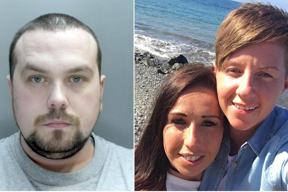 Andrew Burke, left, killed Cassie Hayes, far right, the partner of his former girlfriend Laura Williams, centre (Pictures: PA)