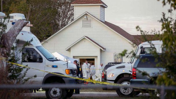 PHOTO: Investigators work at the scene of a mass shooting at the First Baptist Church in Sutherland Springs, Texas, Nov. 5, 2017. (Jay Janner/Statesman.com via AP)