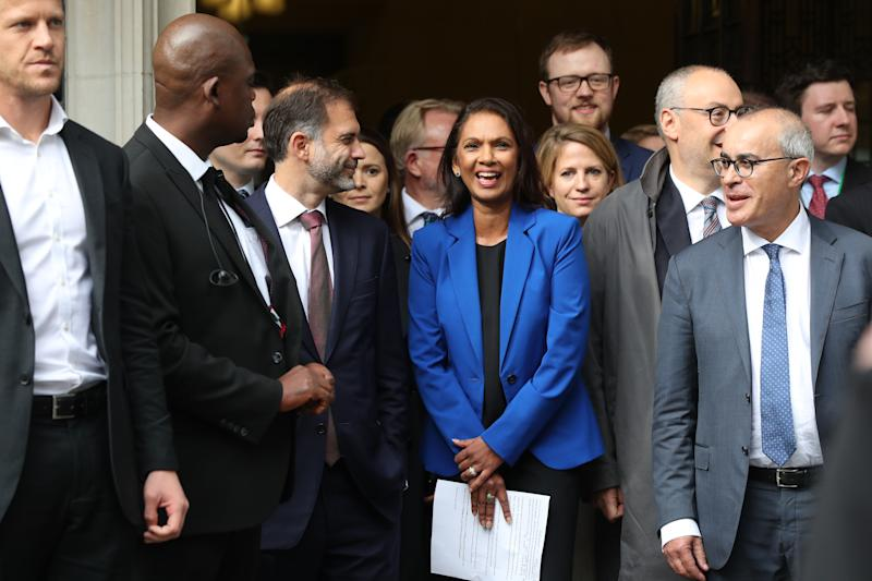 Gina Miller reacts outside the Supreme Court in London, where judges have ruled that Prime Minister Boris Johnson's advice to the Queen to suspend Parliament for five weeks was unlawful.