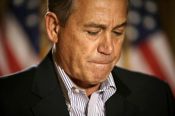 House Speaker John Boehner of Ohio pauses during a news conference on Capitol Hill in Washington, Friday, Dec. 7, 2012, to discuss the pending fiscal cliff. Boehner said there's been no progress in negotiations on how to avoid the fiscal cliff of tax hikes and spending cuts and called on President Barack Obama to come up with a new offer. (AP Photo/Pablo Martinez Monsivais)