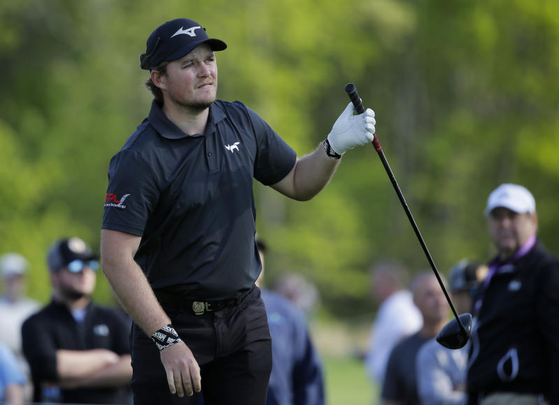 Eddie Pepperell of England, follows through on a drive off the sixth tee during the second round of the PGA Championship golf tournament, Friday, May 17, 2019, at Bethpage Black in Farmingdale, N.Y. (AP Photo/Seth Wenig)