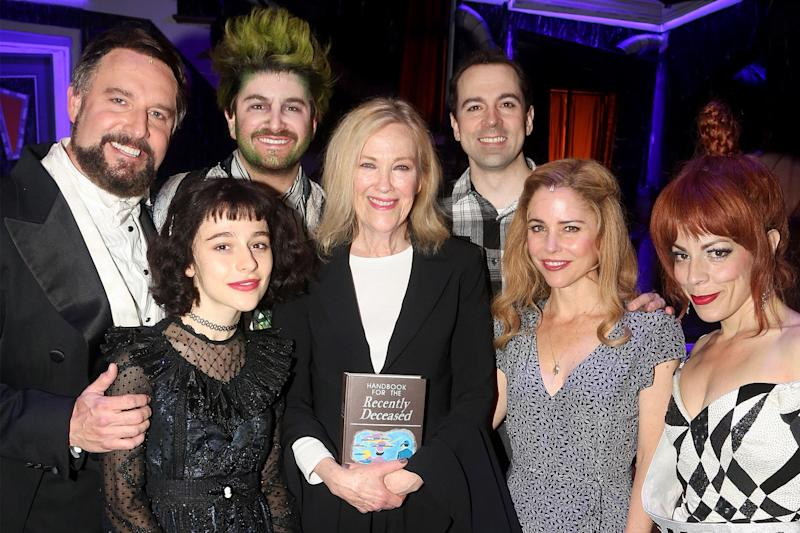 Watch Catherine O'Hara visit the cast of Beetlejuice on Broadway